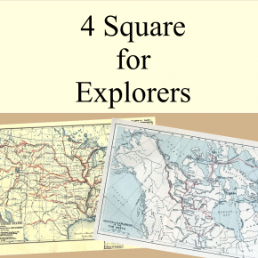 4 Square Writing Template for Explorers (Ponce de Leon, Christopher Columbus, Christopher Newport and Jacques Cartier) | Smartboard Activity