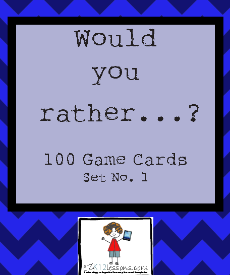 picture about Would You Rather Cards Printable identified as Would by yourself fairly? Match Playing cards, Preset of 100Fastened No. 1